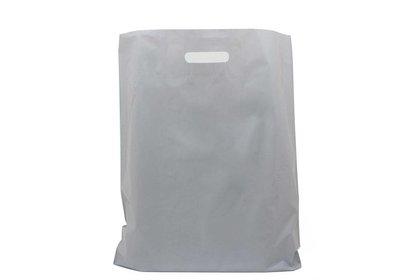Plastic draagtas met gestanste hangreep grijs