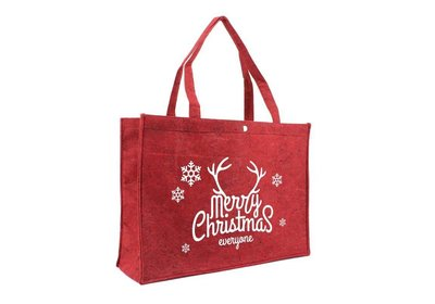 Vilt Kerst draagtas merry christmas bord.rood