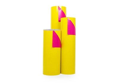 Kadopapier 30/50 cm 200 meter dubbelzijdig geel/roze