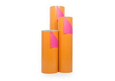 Kadopapier 30/50 cm 200 meter dubbelzijdig oranje/roze