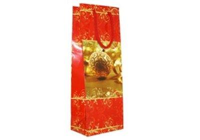 Papieren Kerst wijnfles draagtas met koord rood / goud