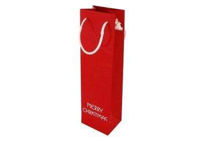 Papieren Kerst wijnfles draagtas met koord merry christmas rood