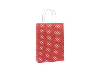 Papieren twisted draagtas + bodemkarton Dot Rood
