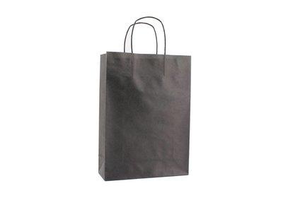 Papieren twisted draagtas + bodemkarton Zwart