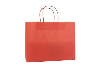Papieren twisted draagtas + bodemkarton Rood liggend model