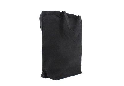 Canvas Eco Luxe draagtas Zwart + brede bodem