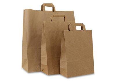 Eco papieren lus draagtas bruin gerecyled Kraft