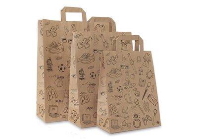 Eco papieren lus draagtas Doodle