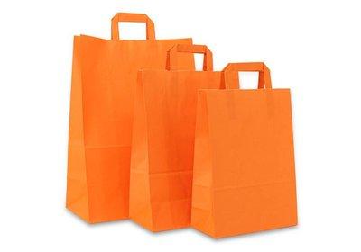 Papieren lus draagtas oranje