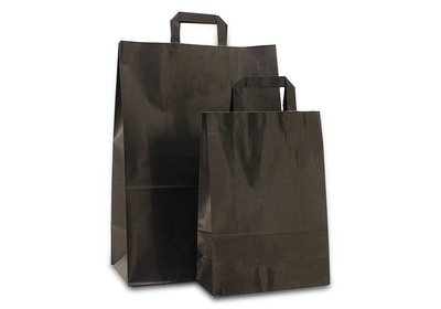 Papieren budget lus draagtas zwart  verpakt á 200 stuks vanaf € 0,17 per stuk