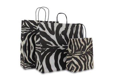 Papieren twisted draagtas Zebra