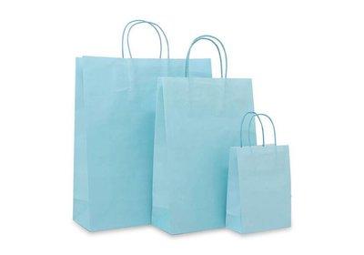 Papieren twisted draagtas Aqua blauw