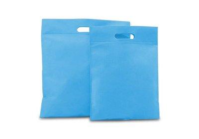 Non Woven tas gestanste handgreep aqua blauw