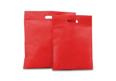 Non Woven tas gestanste handgreep rood