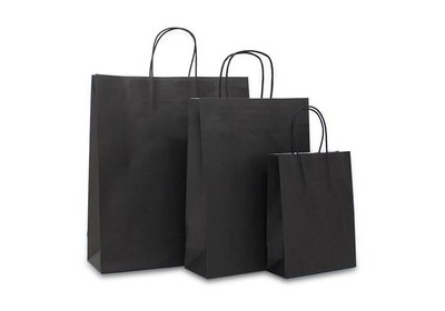 Budget papieren twisted draagtas Zwart vanaf € 0,17 per stuk
