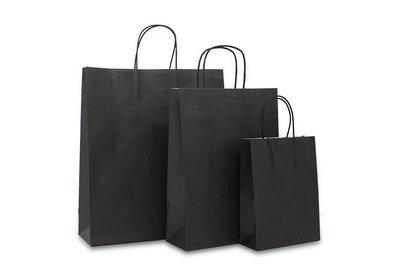 Papieren budget twisted draagtas Zwart vanaf € 0,17 per stuk