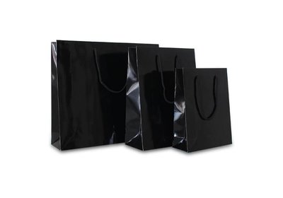 Papieren koorddraagtas met glans laminaat zwart