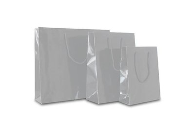Papieren koorddraagtas met glans laminaat zilver