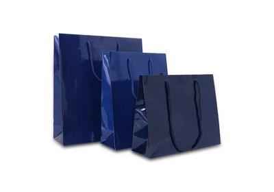 Papieren koorddraagtas met glans laminaat donkerblauw