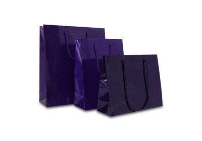 Papieren koorddraagtas met glans laminaat paars