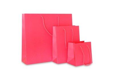Papieren koorddraagtas Fluor Roze
