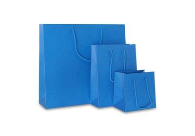 Papieren koorddraagtas Fluor Blauw