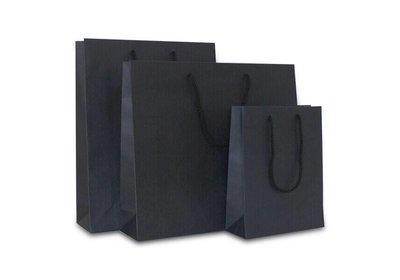 Papieren koorddraagtas Zwart Kraft