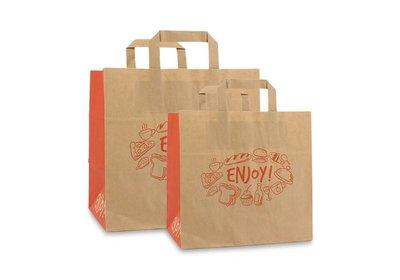 Papieren lus draagtas take away bag Enjoy