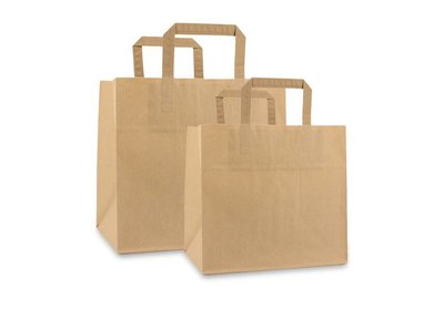 Papieren lus draagtas take away bag bruin