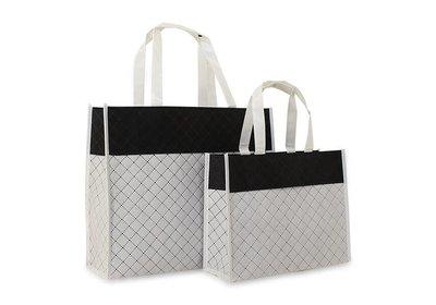 Non Woven draagtas Luxe diamond wit/zwart