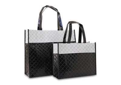 Non Woven draagtas luxe diamond zwart/wit