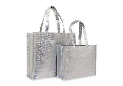 Non Woven Shopper croco zilver