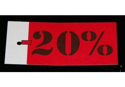 Hangkaartjes bedrukt met 10% / 75% /NEW & SALE