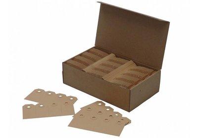 Labels  met versterkt gaatje bruin Karton