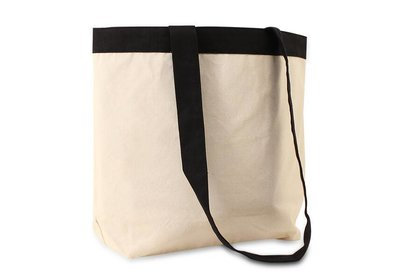 Canvas Eco Luxe draagtas Ecru/Zwart lussen