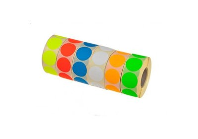 Etiketten rond 25mm á 1.000 stuks  8 fluor kleuren