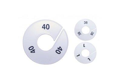 Maataanduider Wit/zwart bedrukt met letter aanduiding  XXS t/m 3XL