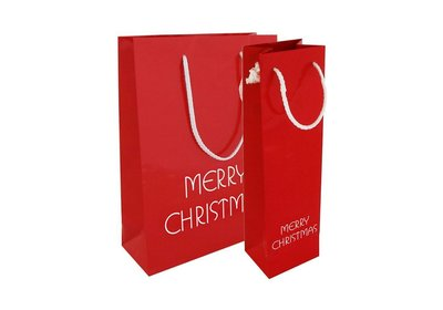 Papieren Kerst draagtas met koord merry christmas rood