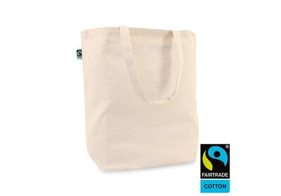 Katoenen Fairtrade Canvas tote draagtas ecru