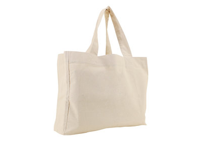 Katoenen  Canvas shopper draagtas ecru