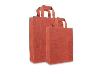 Zero Tree Eco draagtas papier/abaca croco look lak rood