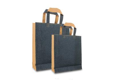 Zero Tree Eco draagtas papier/abaca leather look zwart/bruin