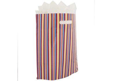 Plastic draagtas SALE bonte streep