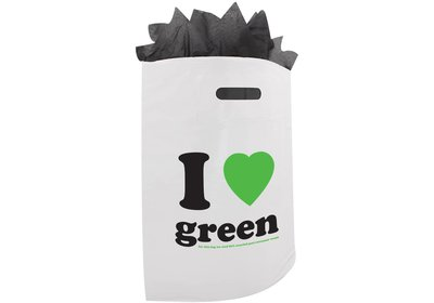 Plastic draagtas SALE ilovegreen wit