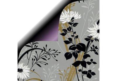 Kadopapier 30/50 cm 200 meter dubbelzijdig lila bloem