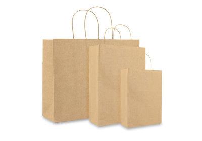 Papieren twisted draagtas + bodemkarton Bruin