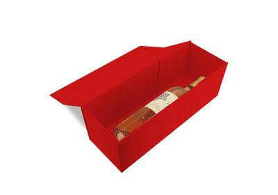 Luxe magneet doos rood voor 1 fles