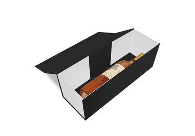 Luxe magneet doos zwart/wit voor 1 fles