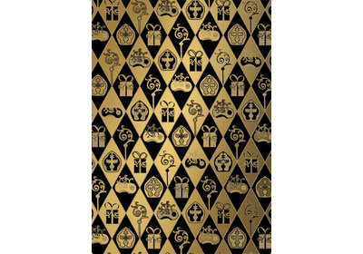 Sinterklaas kadopapier 30/50 cm 125 m. classic sint zwart/ goud