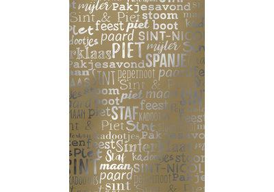 Sinterklaas kadopapier 30/50 cm 125 m. Sint lettering goud